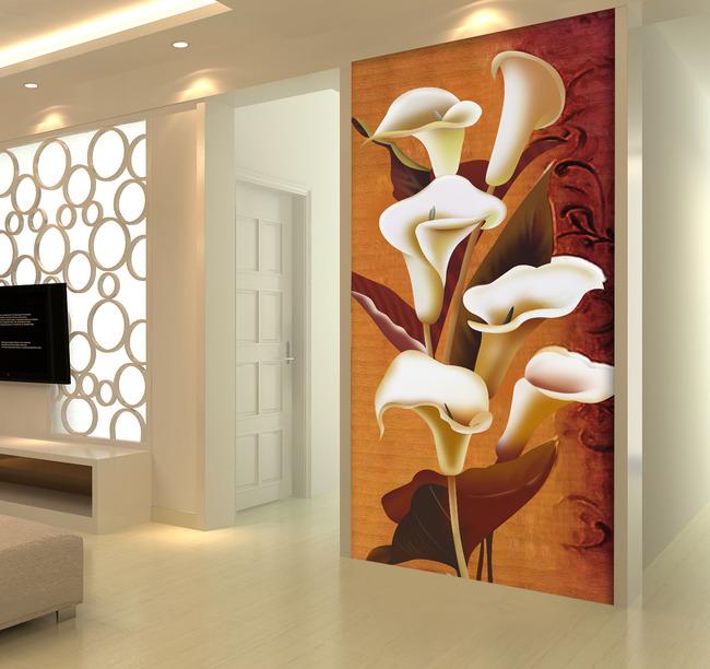 大型玄关壁画艺术百合