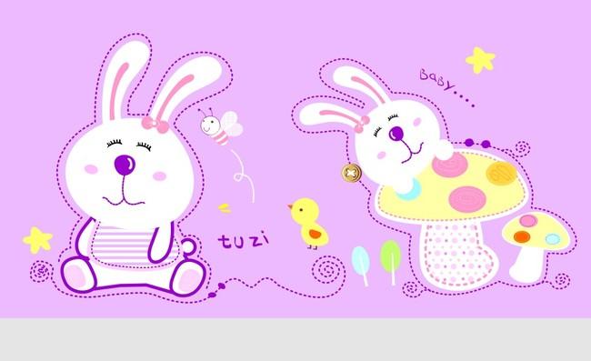 儿童卡通模板下载 小蜜蜂 小鸡 可爱兔子插画 说明:卡通兔子图案