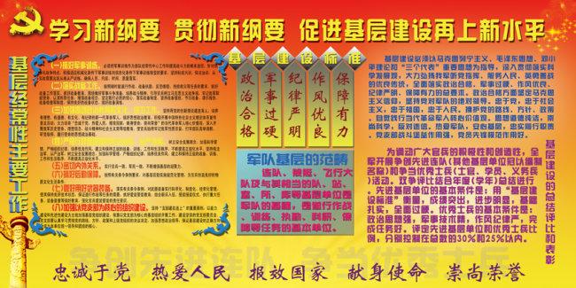 展板 展板模板 展板设计 部队 军队 军队基层建设纲要 纲要 连队