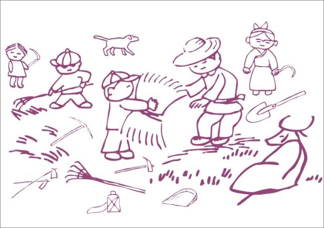 【cdr】乡村农民收割小麦-绘画