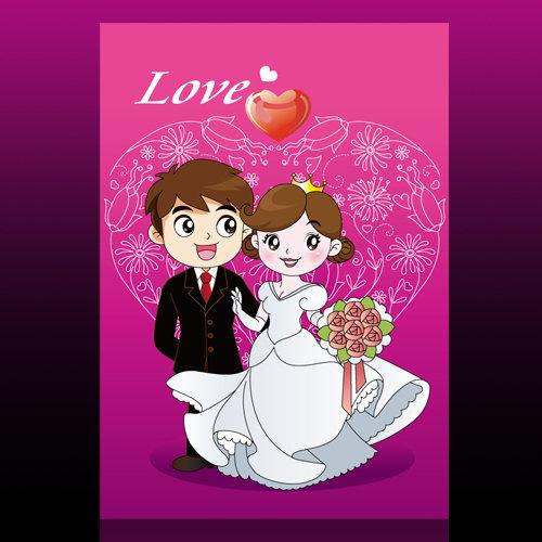 婚庆背景 婚庆结婚 婚庆背景素材 矢量素材 说明:卡通新郎新娘素材