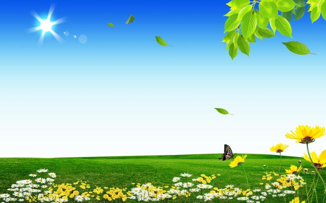 漂亮风景psd模版下载  蓝天 白云 公益 环保 草地 风景设计 绿色清新