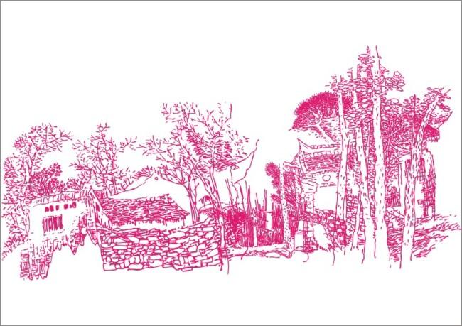 简笔画 简写画 山水画 形象画 风景画 林间小屋 山林 石头 树林 树木