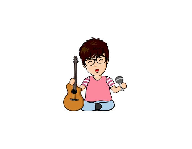 眼镜 小孩 卡通人物 漫画 q版 插画 麦克风 说明:卡通吉他少年矢量图