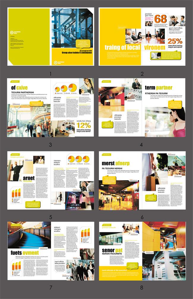画册设计|版式|菜谱模板 企业画册(整套) > 国外风格版式排版画册模板