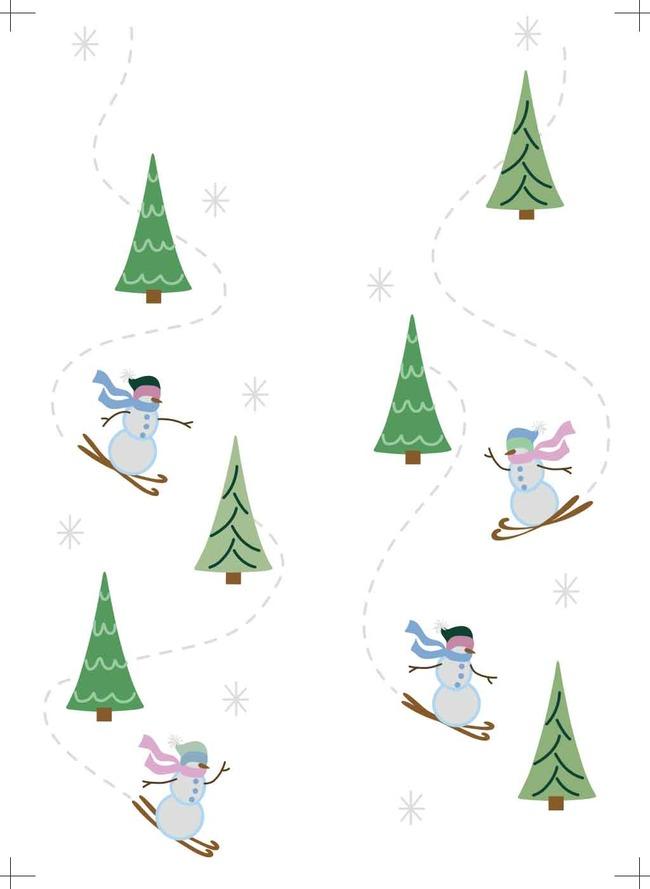 滑雪 雪人 松树 雪花 雪人印花模板 松树印花素材 雪花印花 卡通雪人图片