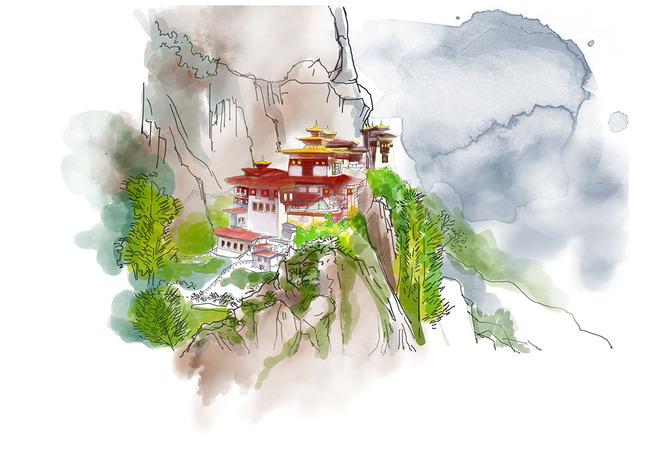 【psd】世界名建筑手绘插画高清分层