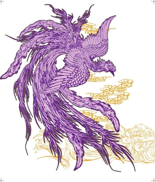 【ai】流云紫凤t恤印花矢量图