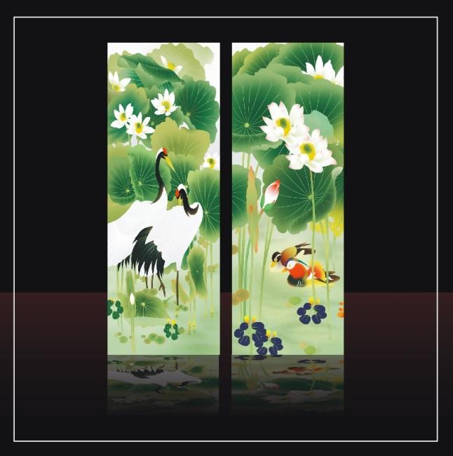 【cdr】鸯鸳戏水荷花仙鹤移门