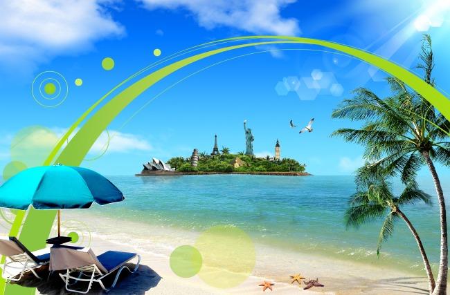 关键词: 海 海边 海滩 沙滩 水 海水 椰树 树 蓝天 白云 花边 太阳