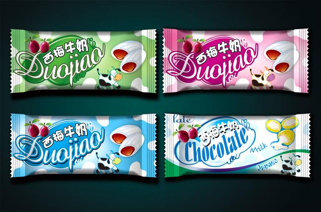 > 牛奶糖包装设计展开图  关键词: 糖果包装 食品包装 包装设计