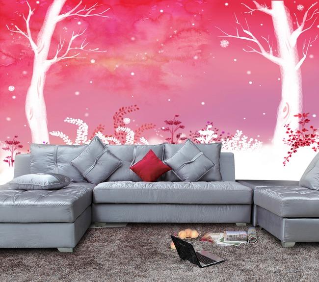 【jpg】彩色水墨涂鸦沙发背景墙