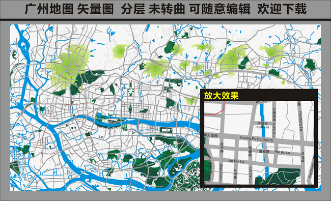 地图 矢量地图模版 地图模版 房地产线路 地产地图 旅游地图 广州旅游