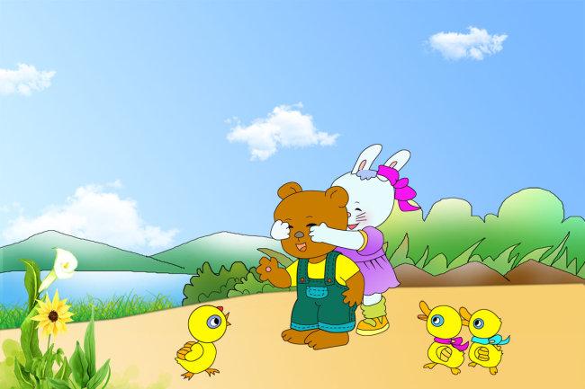 幼儿园卡通宣传栏蓝天卡通动物