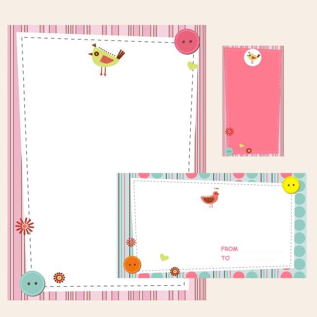 儿童 粉色 蓝色 小鸟 花 扣子 信封 信纸 名片 vi 矢量 可爱 清新 说