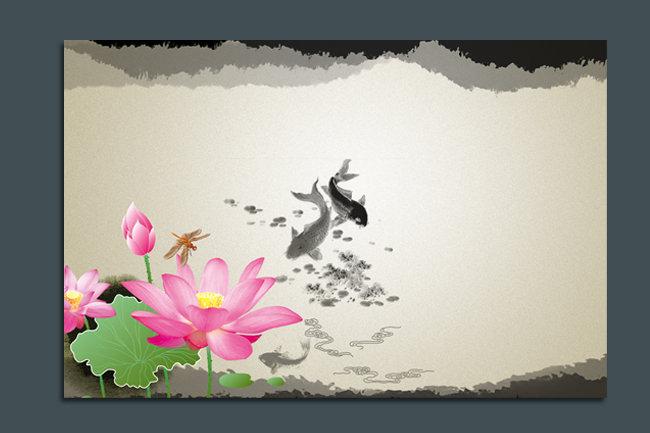 关键词: 水墨 中国风 背景 背景图 国画 荷花 鱼 水墨画 psd分层素材