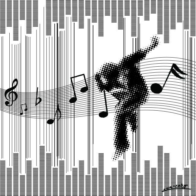 插画|素材|元素 时尚插画 > 点线面-音乐  关键词: 点线面构成 ps素材