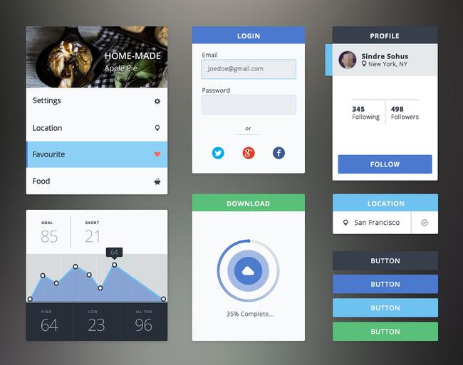 扁平化手机软件登录界面UI交互设计