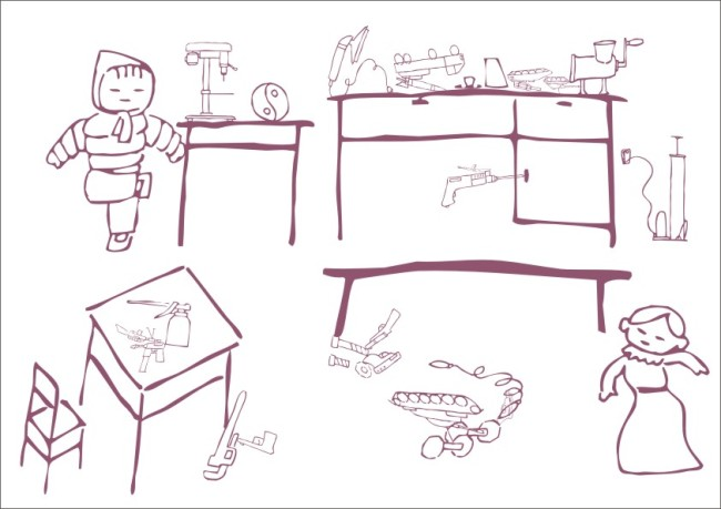 长方形桌椅手绘平面图