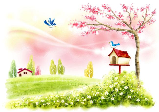 插画|素材|元素 原创素材 > 美丽风景  关键词: 美丽风景 风景 春天