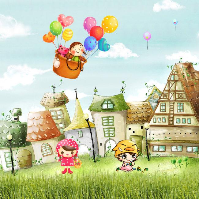 【psd】草地可爱卡通房子热气球海报设计