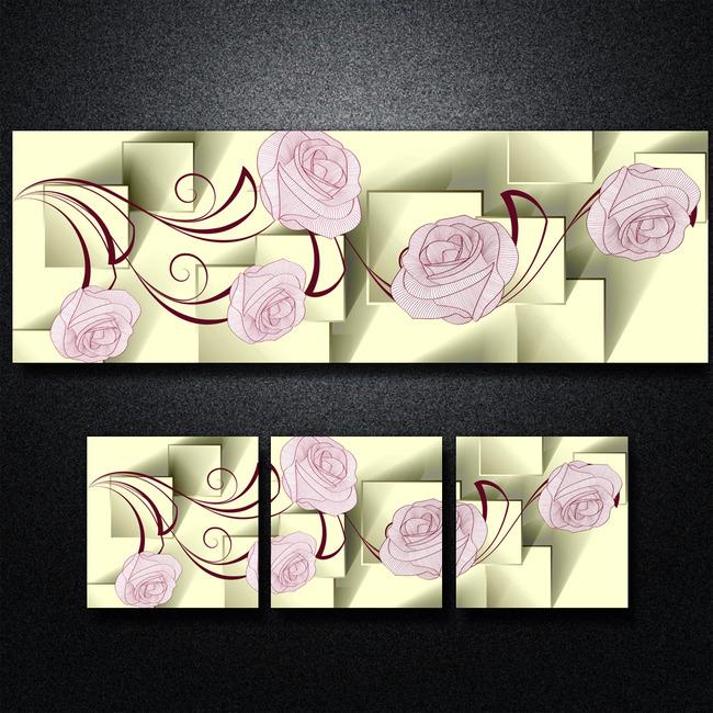 【psd】3d立体方块手绘花朵无框画