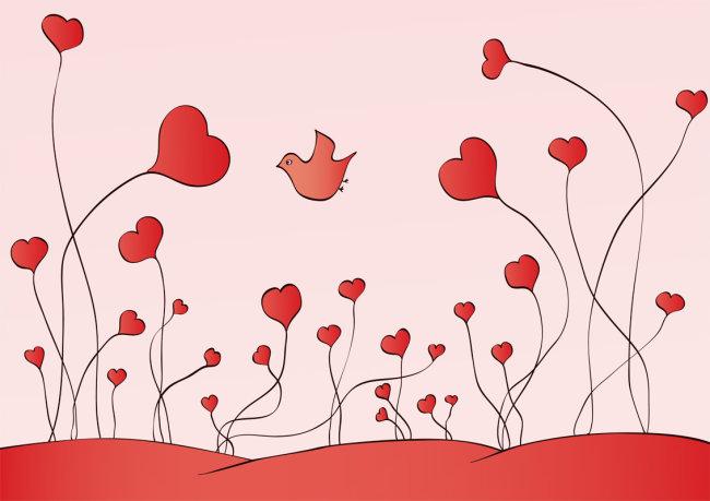 红色 爱心 播种 可爱 背景 红色背景 卡通 飞鸟 红鸟 散播 卡通 简单
