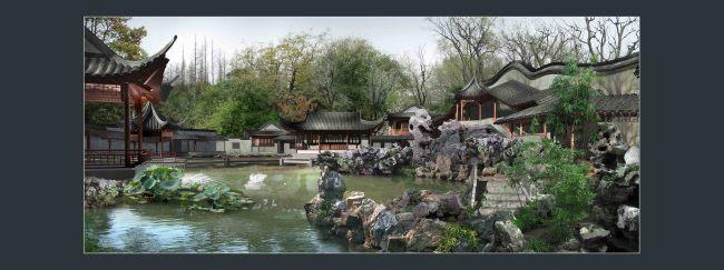 古典园林建筑假山水景画卷景观效果图