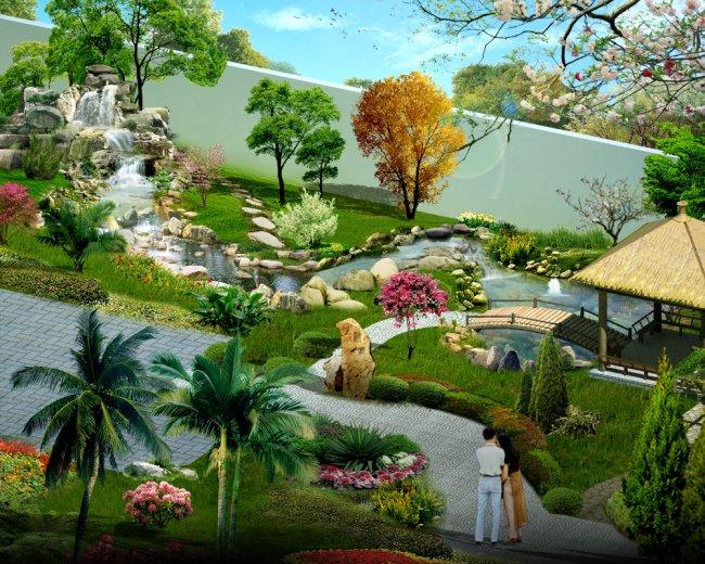室内小桥_【PSD】园林庭院景观效果图PSD分层_图片编号:wli6583224_园林设计 ...