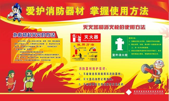 安全生产月宣传展板  关键词: 爱护消防器材 掌握使用方法 标语模板