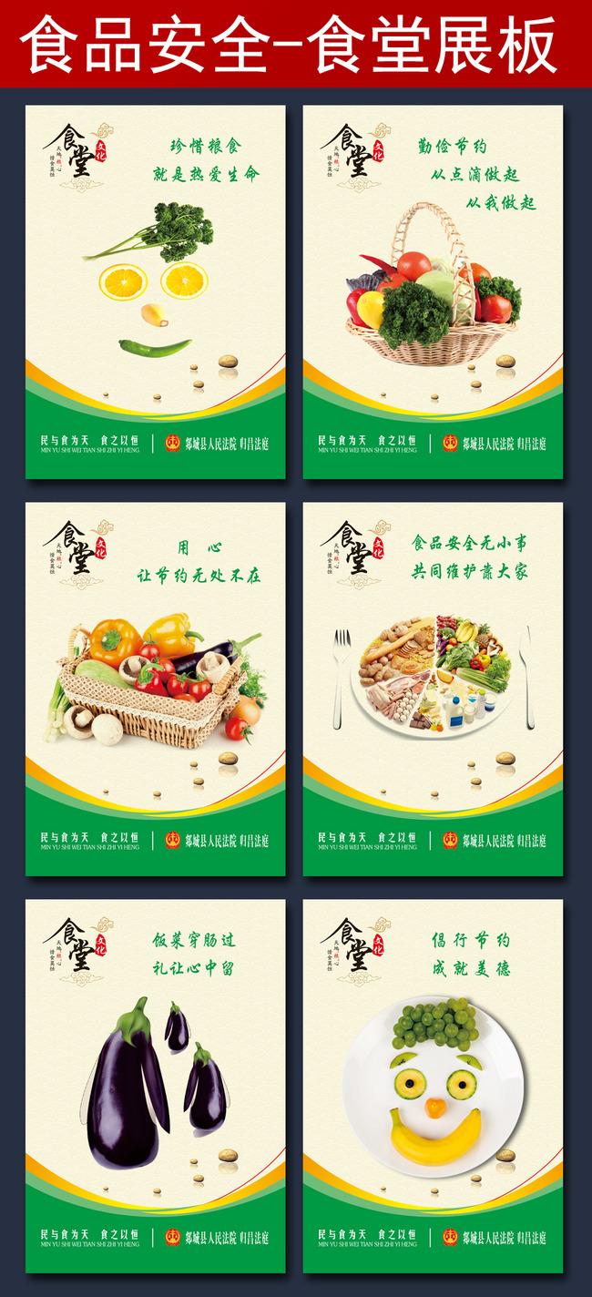【psd】食品安全饮食食堂文化食堂挂画海报