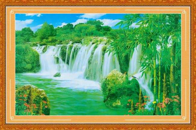 中堂画 山水风景壁画 中堂壁画 山水风景画 湖泊 瀑布 青竹 竹子