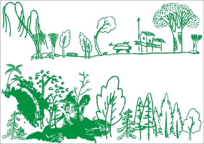 【cdr】绿树乡下小林-手绘画