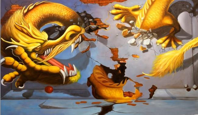 3d动画 艺术 建筑素描 素描 画板 画画 绘画 说明:3d手绘油画龙装饰画图片