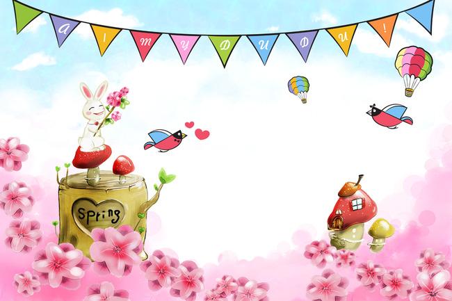 【psd】卡通小白兔爱情鸟电视背景墙壁画