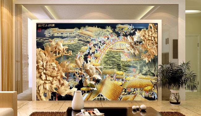 【】木雕浮雕立体效果清明上河图古画电视背景墙