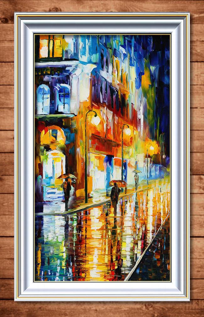 【】灯火阑珊的雨中街景风景油画