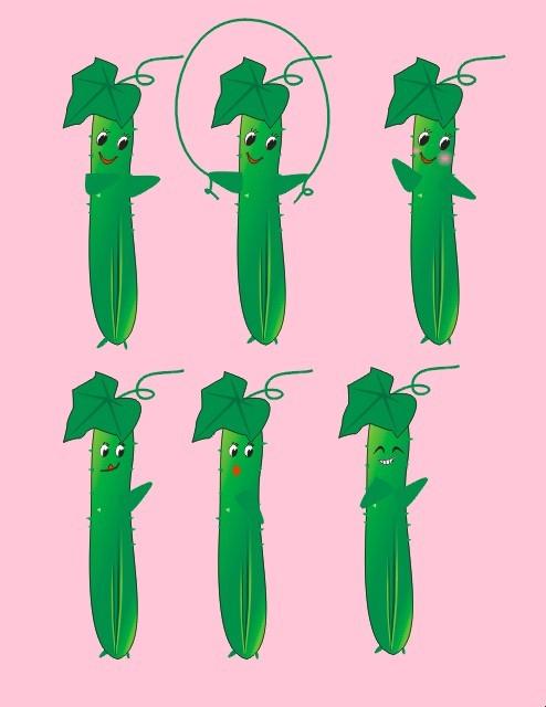 卡通黄瓜表情动作矢量图 分享到:qq空间新浪微博腾讯微博人人网开心网