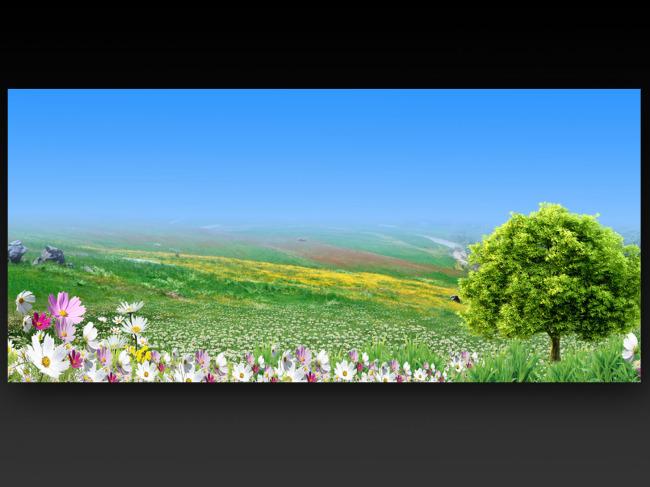 【psd】绿色风景 展板背景模板