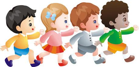 【cdr】跑步 男孩女孩 可爱卡通 cdr