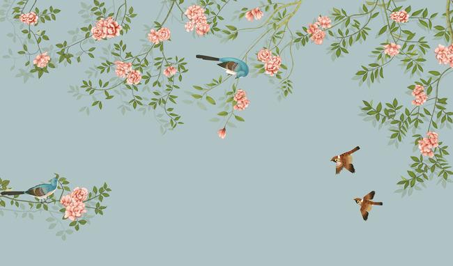 中国风 客厅 卧室 书房 中式壁画 高清 欧式 喜鹊 说明:高清手绘花鸟