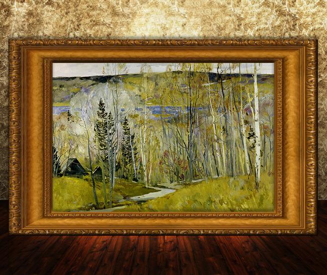 【psd】河流草地風景油畫