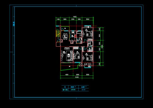 【dwg】三室二厅户型cad设计图