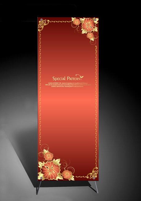 【ai】欧式金色花纹背景x展架模板下载