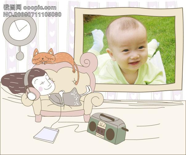 原创专区 全家福|婚纱模板|相册 儿童模板-男宝宝 > 手绘风格可爱宝