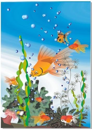 海底总动员 风景 风景画 风景素材 风景背景 金 金鱼 海藻 背景 卡通