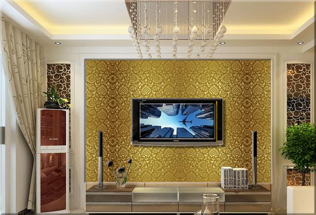 【】欧式简约纹理花纹壁画壁纸客厅电视背景墙