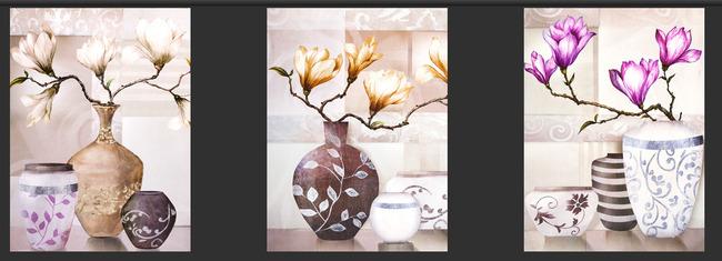 玫瑰 白瓶 红色 黄色 油画花 树枝 白玉兰 说明:无框画装饰画花瓶
