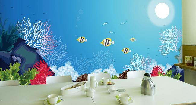 电视墙 形象墙 卡通 动漫 可爱 彩雕 手绘 说明:海底世界海洋生物鱼群
