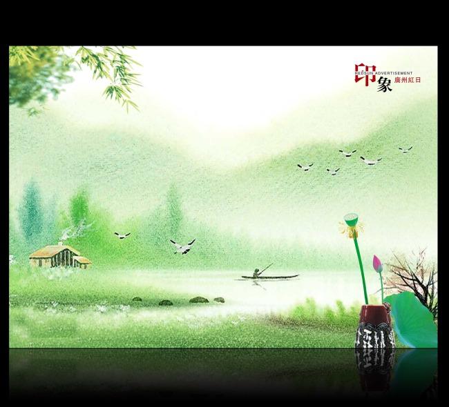 中国风海报设计 海报背景素材 中国风 中国风海报 古典海报 风景海报
